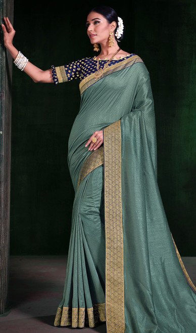 Sea Green Color Silk Embroidered Sari