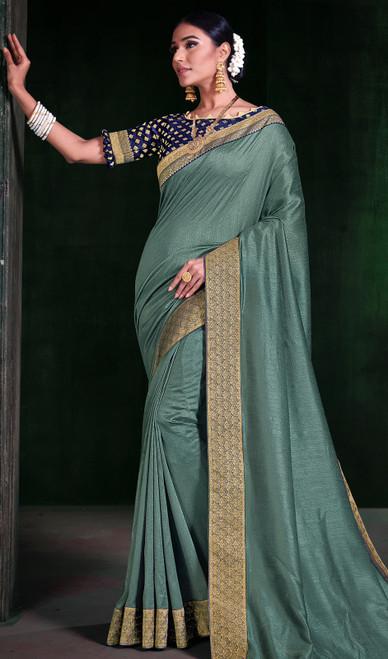 Sea Green Color Silk Embroidered Sari