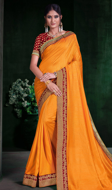 Mustard Color Shaded Silk Sari
