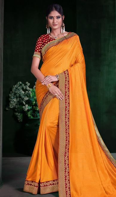 Mustard Color Shaded Silk Sari