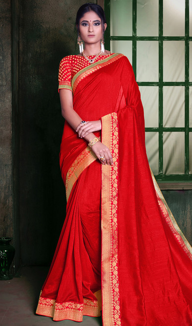Red Color Embroidered Silk Sari