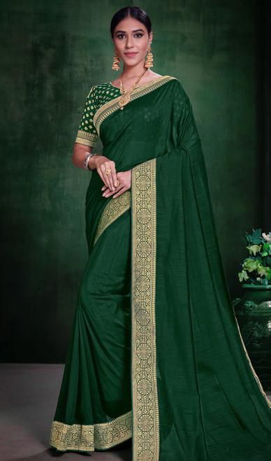 Green Color Silk Embroidered Sari