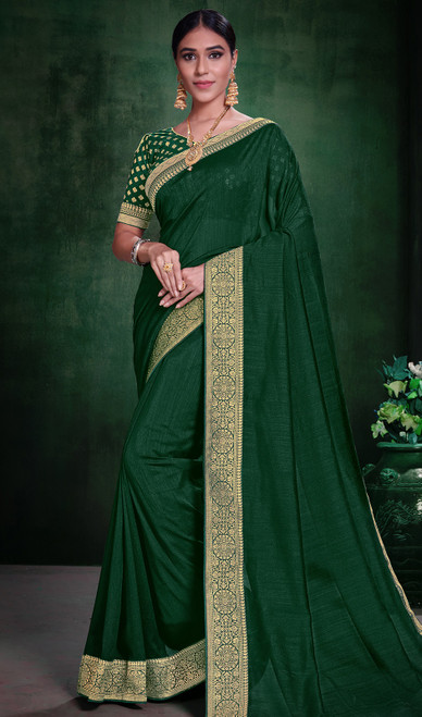 Green Color Silk Embroidered Sari