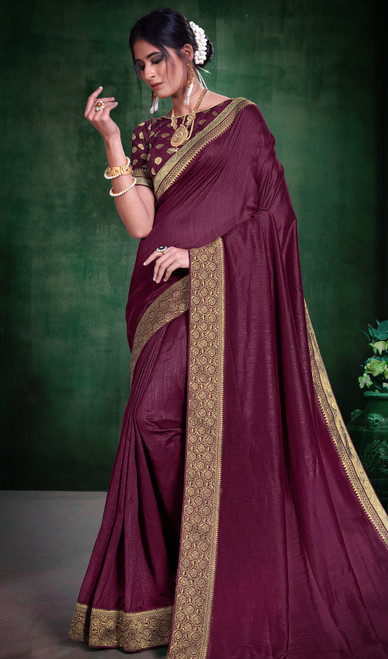 Embroidered Silk Wine Color Sari