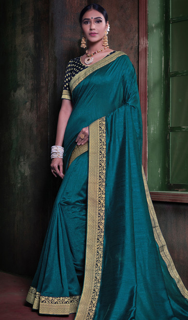 Teal Blue Color Embroidered Silk Sari