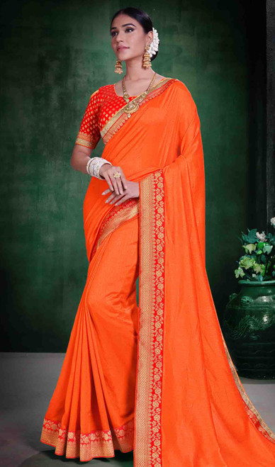 Silk Orange Color Embroidered Sari