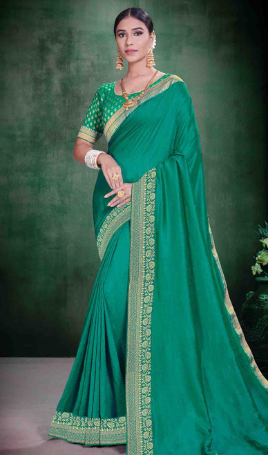 Teal Green Color Shaded Silk Sari