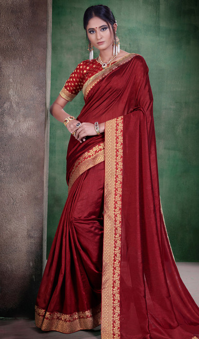 Maroon Color Embroidered Silk Sari