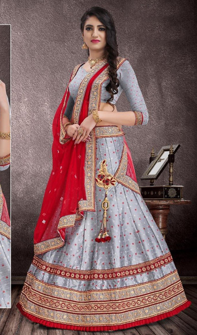 Gray Color Embroidered Jacquard Lehenga Choli