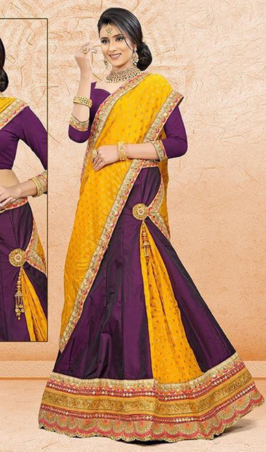 Purple and Yellow Color Satin Choli Skirt