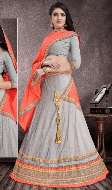 Gray Color Jacquard Embroidered Lahenga Choli