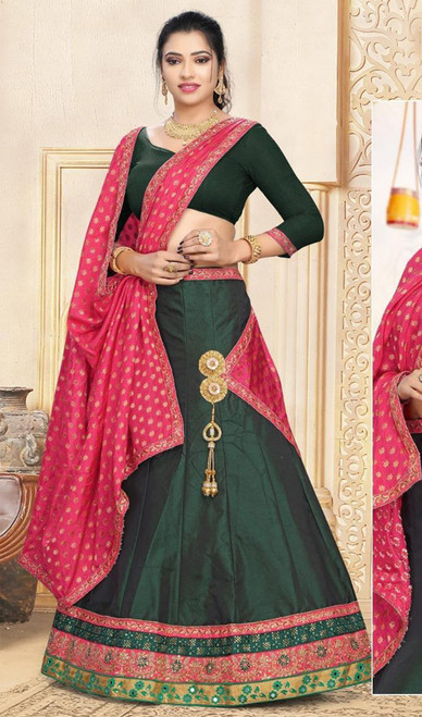 Dark Green Color Shaded Satin Lehenga Cholie