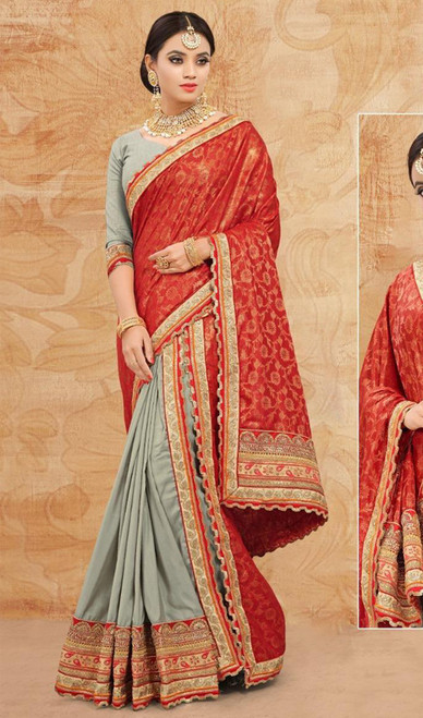 Gray and Red Color Embroidered Silk Sari