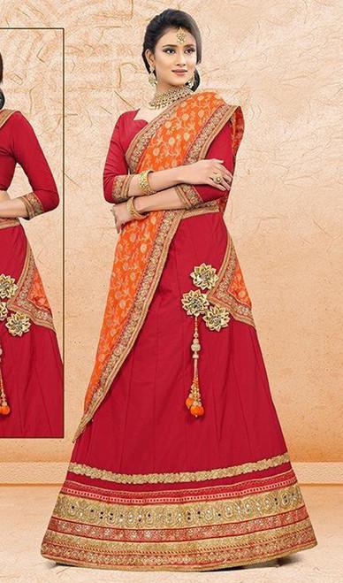 Lehenga Choli Red Color Embroidered Satin