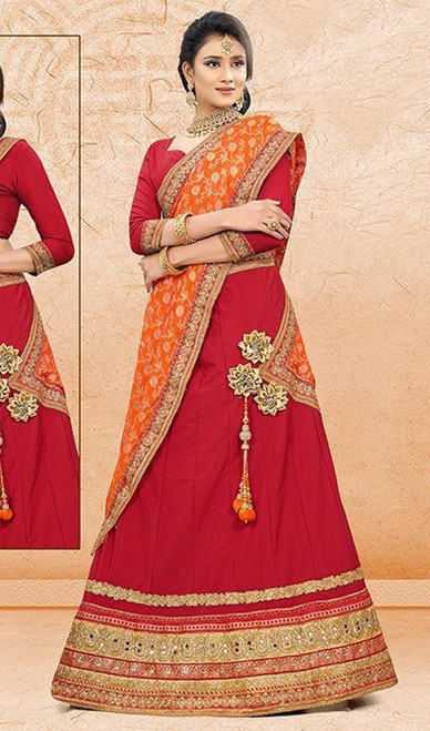 Lehenga Choli Red Color Embroidered Satin