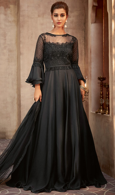 Black Color Shaded Silk Georgette Anarkali Suit