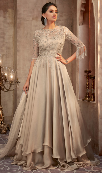 Beige Color Shaded Silk Georgette Anarkali Dress