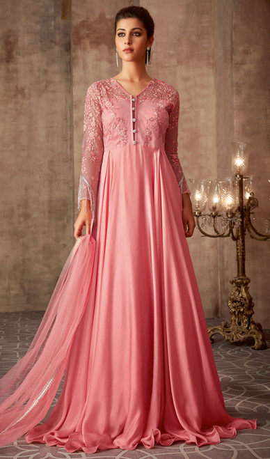 Peach Color Shaded Silk Georgette Anarkali Suit