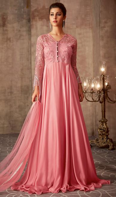 Peach Color Shaded Silk Georgette Anarkali Suit