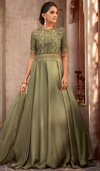 Green Color Shaded Silk Georgette Anarkali Dress