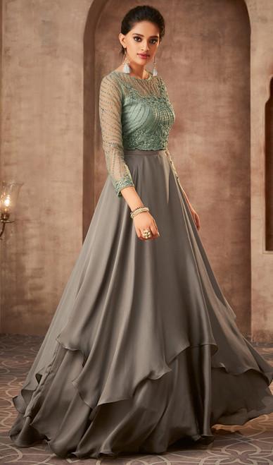 Anarkali Dress in Gray Color Shaded Silk Georgette
