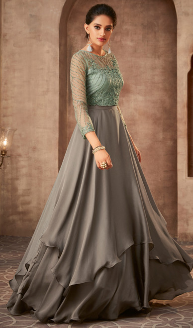 Anarkali Dress in Gray Color Shaded Silk Georgette