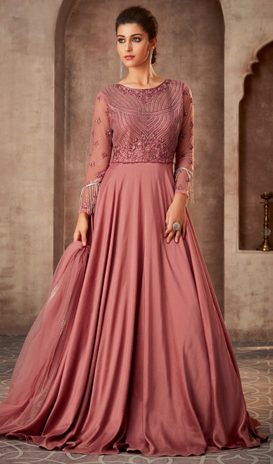 Anarkali Suit, Silk Georgette Fabric in Pink Color Shaded