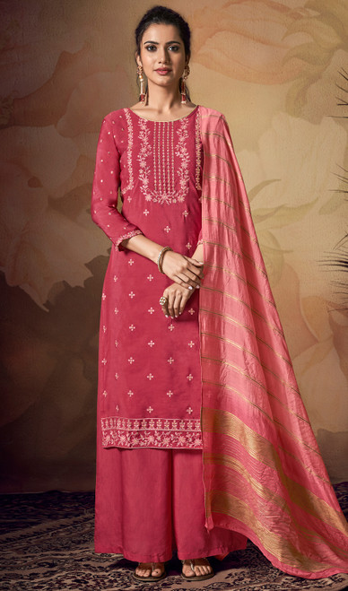 Red Color Embroidered Viscose Palazzo Suit
