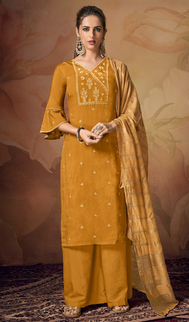 Mustard Color Shaded Viscose Palazzo Suit