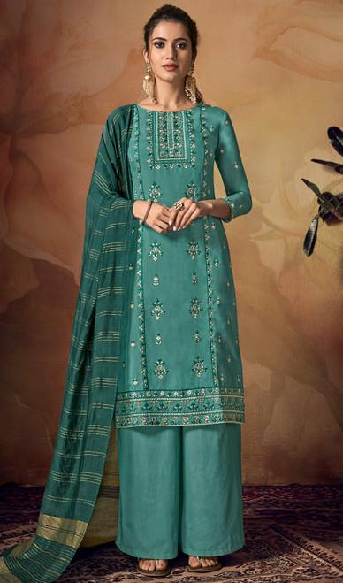 Teal Green Color Shaded Viscose Palazzo Dress