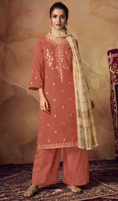 Palazzo Dress in Peach Color Shaded Viscose