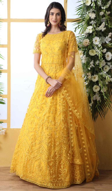 Yellow Color Embroidered Net Anarkali Dress