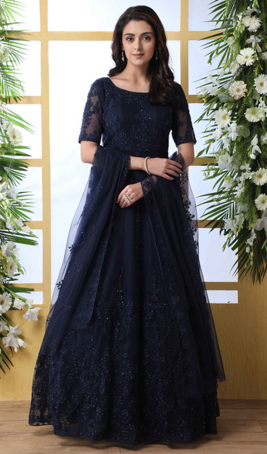 Navy Blue Color Net Embroidered Anarkali Dress
