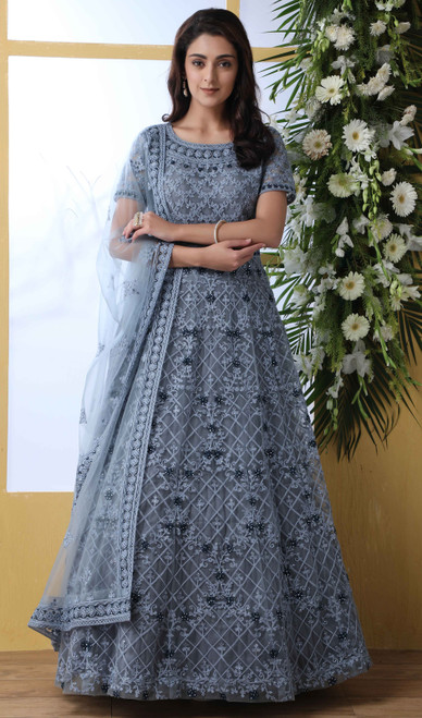Net Anarkali Suit in Gray Color Shaded