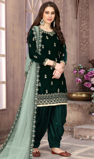 Patiala Suit in Green Color Embroidered Velvet