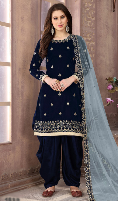 Blue Color Embroidered Velvet Punjabi Suit