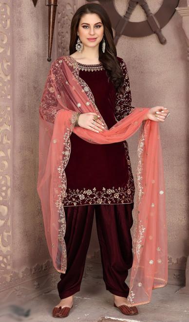 Punjabi Suit, Velvet Fabric in Maroon Color Shaded