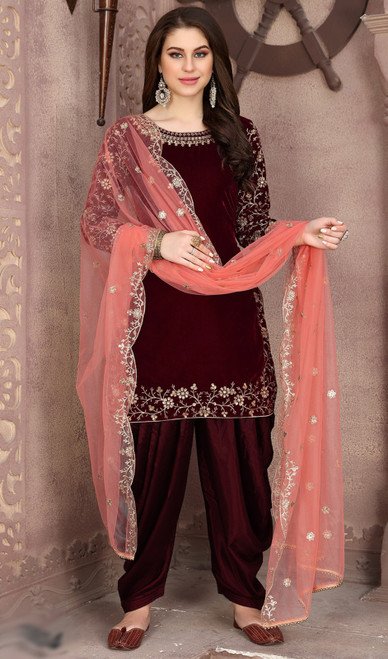 Punjabi Suit, Velvet Fabric in Maroon Color Shaded