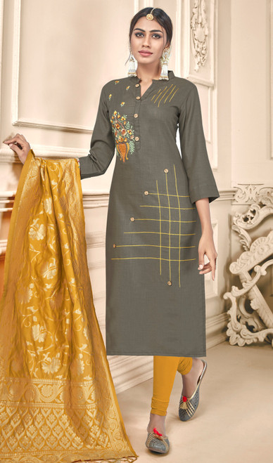 Gray Color Cotton Churidar Suit