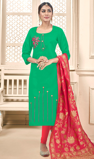 Green Color Cotton Churidar Dress