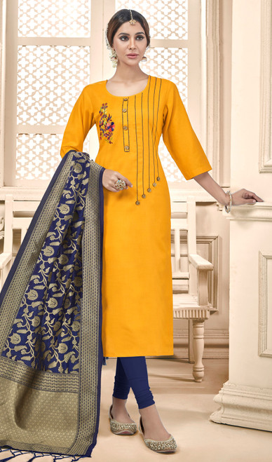 Yellow Color Cotton Churidar Dress