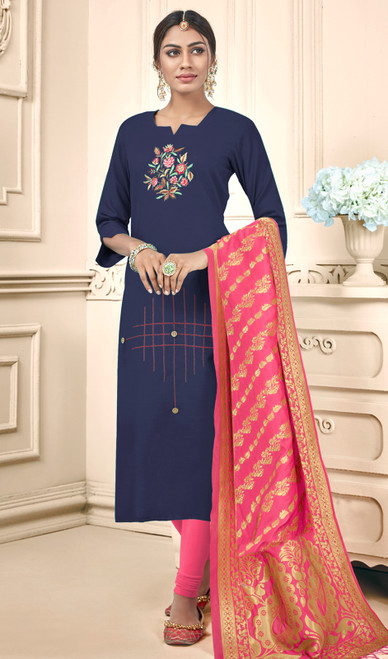 Navy Blue Color Cotton Churidar Kameez