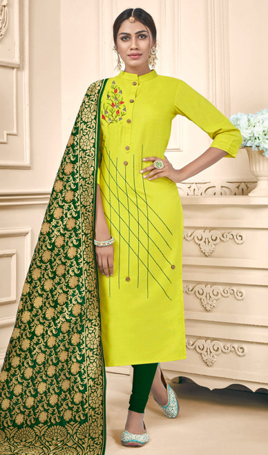 Lemon Color Shaded Cotton Churidar Suit