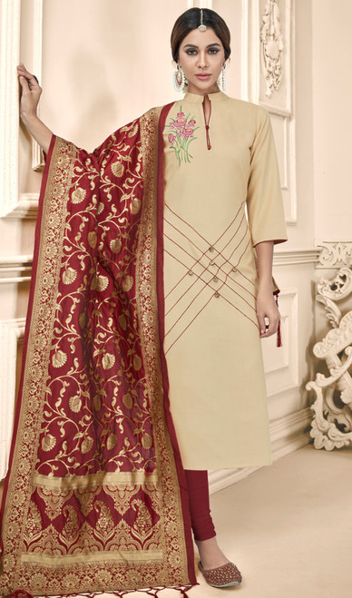 Churidar Suit in Beige Color Shaded Cotton