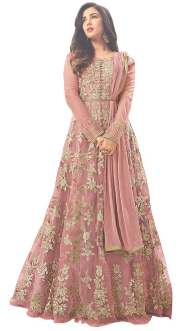 Pink Color Embroidered Net Designer Anarkali Suit