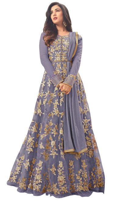 Net Gray Color Embroidered Anarkali Dress