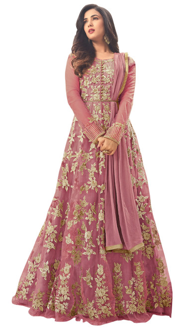 Net Embroidered Pink Color Shaded Anarkali Suit