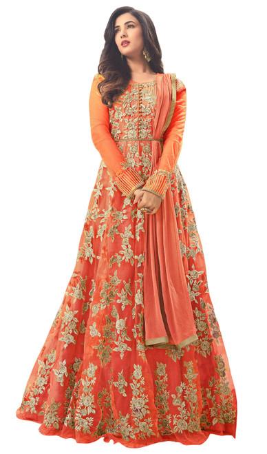 Orange Color Embroidered Net Anarkali Dress
