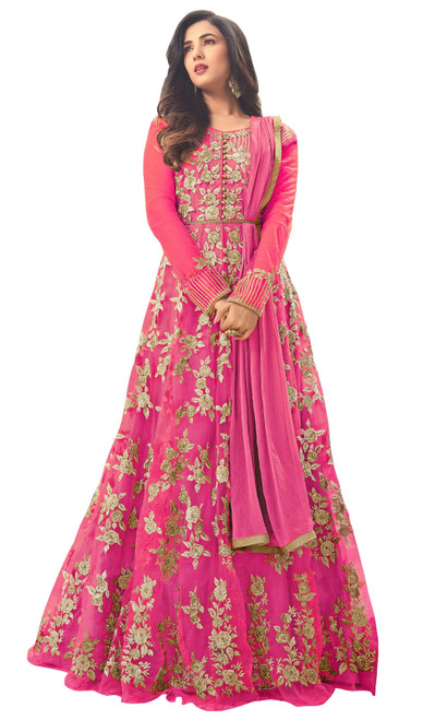 Anarkali Suit Embroidered Net in Pink Color