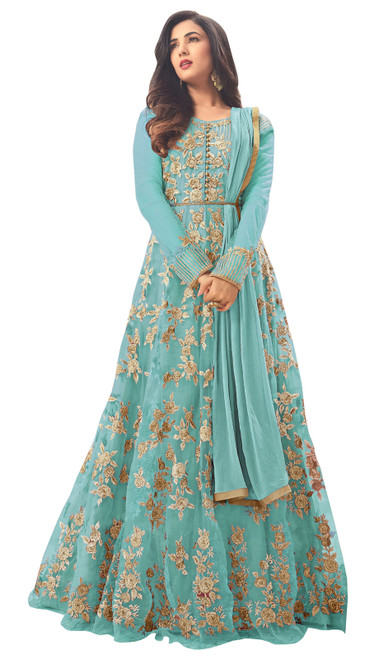 Teal Blue Color Shaded Net Embroidered Anarkali Suit